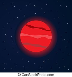 Red planet in starry space