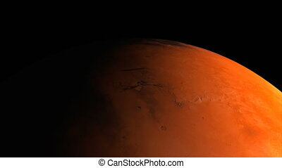 Red planet Mars in the darkness of cosmos part of solar system, 3d space render, computer generated