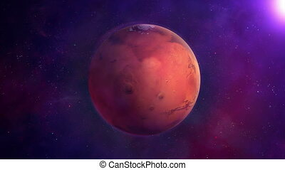 Red planet Mars on a background of blue space, looped.