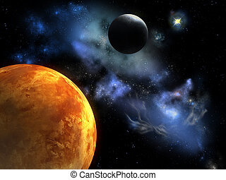 Red planet - Two planets from outer space. Digital...
