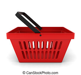 Red plastic basket. 3d illustration on white background