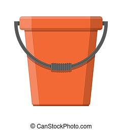 Red plastic bucket with handle.