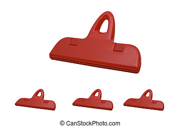 plastic clips (paper clips) for a paper separately on a white background