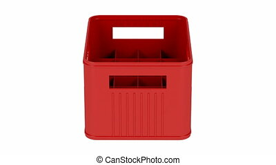 Red plastic crate spin on white background