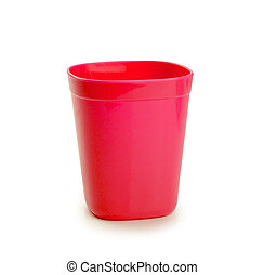 red plastic cup isolated on white background