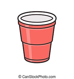Red plastic cup isolated on white background. Traditional...