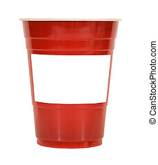 red plastic cup with empty label