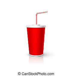 Red plastic Cup with tube mockup. Vector realistic design element.