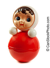 Red plastic doll insulated