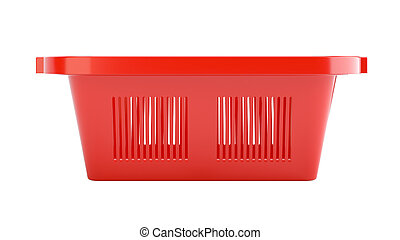 Red plastic empty shopping basket