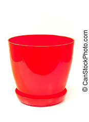 Red plastic flower pot isolated on white background