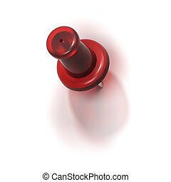 red plastic pushpin or thumbtack - refuse - red plastic...