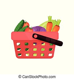Red plastic shopping basket full of fresh vegetables. Natural and healthy food. Organic farm products. Flat vector icon
