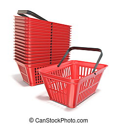 Red plastic shopping baskets 3D render illustration isolated...