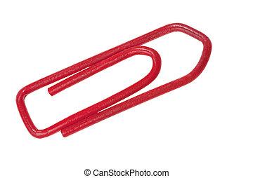 red plastic staple close-up