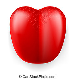 Red plastic tongue - Large red plastic tongue on white...