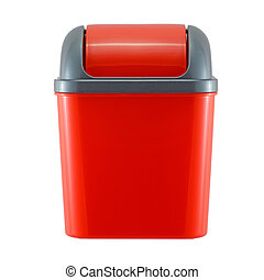 red plastic trash can on white background