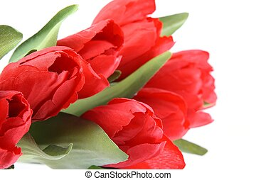 Red  plastic tulips isolated on white background