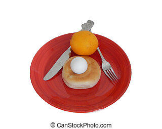 Red Plated Breakfast (07-01) - This is a photo of breakfast...