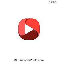 red play button for video or music logo template vector illustration
