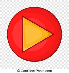 Red play button icon in cartoon style