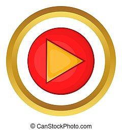 Red play button icon
