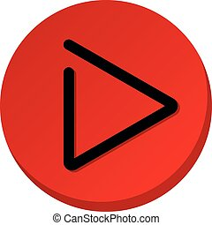 Red play button sign. Play video icon. Illustration
