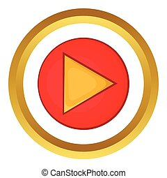 Red play button vector icon