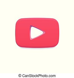 Red Play Flat Logo, You Tube Notification Icon like. Social ...