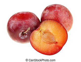 Detail plum with slice on white background