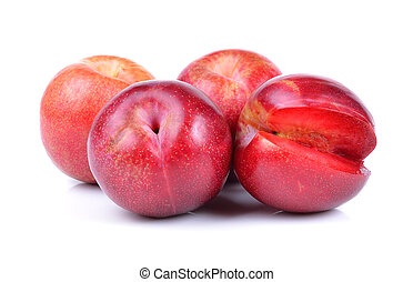 red plum isolated on white background