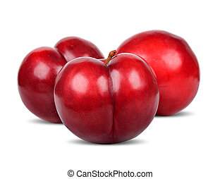 Red plum isolated on white with clipping path
