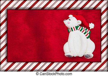 Red Plush Fur and Christmas Bear Christmas Background
