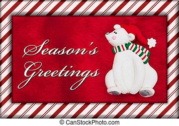 Red Plush Fur and Christmas Bear Christmas Message