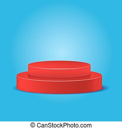 red podium on a blue background