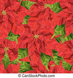 Red poinsettia flower realistic vector illustration seamless pattern