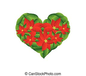 Red Poinsettia Flowers in A Heart Shape