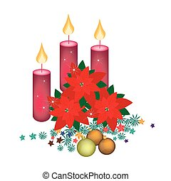 Red Poinsettia Flowers with Christmas Candles and Ornament
