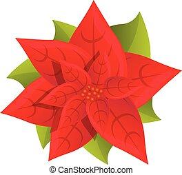 Red poinsettia icon, cartoon style