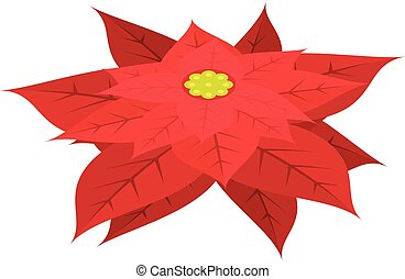 Red poinsettia icon, isometric style