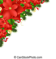 Red Poinsettia, Isolated On White Background, Vector Illustration