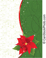 Christmas place card with red ribbon and poinsettia. Place for copy/text.