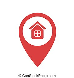 Red point with house icon on a white background. Vector illustration