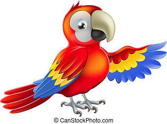 Red pointing cartoon parrot - A red macaw parrot pointing or...