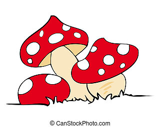Red poison mushrooms.