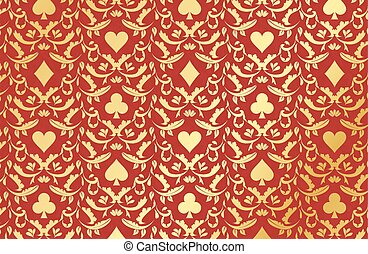 Red poker background with golden card symbols - Exclusive...