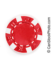 Red poker chip isolated on a white background