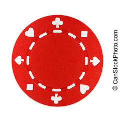Red Poker Chip - A red poker chip isolated on a white...