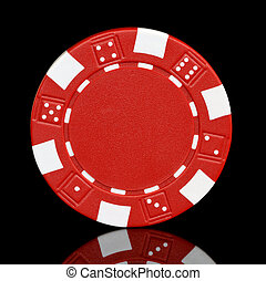 red poker chip with glass reflection