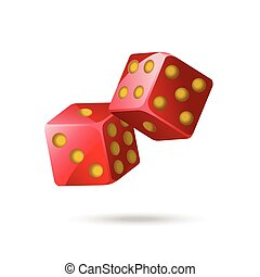 Red poker dice - modern vector isolated object